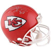 TRAVIS KELCE Autographed Kansas City Chiefs Riddell Authentic Pro-Line Helmet FANATICS