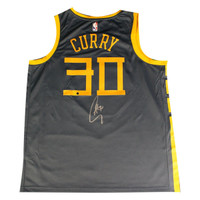 """STEPHEN CURRY Autographed Golden State Warriors Indigo Nike Dri-FIT Men's Chinese Heritage """"The Bay"""" City Edition Swingman Jersey (On Court Style with Rakuten logo) STEINER"""