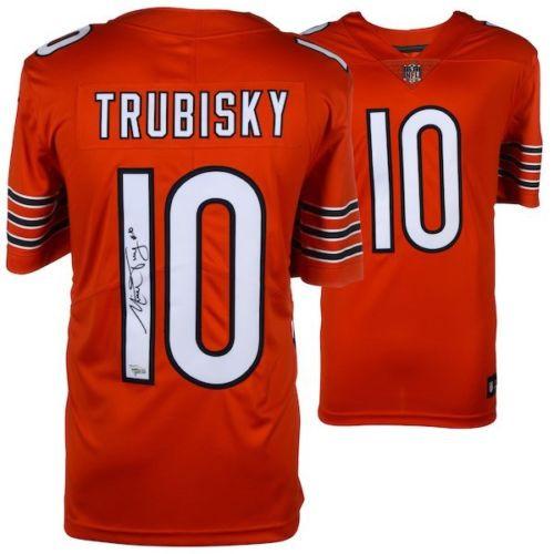 newest b655d b8737 MITCHELL TRUBISKY Autographed Chicago Bears Orange Limited Nike Jersey  FANATICS