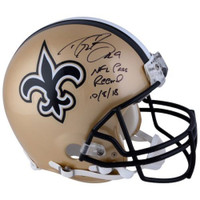 "DREW BREES Autographed New Orleans Saints ""NFL Pass Record 10/8/18"" Proline Authentic Helmet FANATICS"