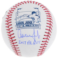 """AARON JUDGE Autographed / Inscribed """"2017 AL ROY"""" New York Yankees Rookie of The Year Logo Official Baseball FANATICS"""