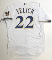 "CHRISTIAN YELICH Autographed / Inscribed ""18 NL MVP"" Milwaukee Brewers Authentic Majestic White Jersey STEINER"