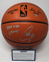 "STEPHEN CURRY Autographed & Inscribed ""2018 NBA Champs"" Spalding Game Ball Series Basketball STEINER"