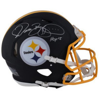 "JEROME BETTIS Autographed / Inscribed ""HOF 15"" Pittsburgh Steelers Black Matte Authentic Speed Helmet FANATICS"