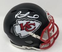PATRICK MAHOMES Autographed Kansas City Chiefs Speed Mini Black Matte Helmet FANATICS