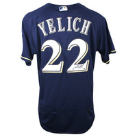 CHRISTIAN YELICH Autographed Milwaukee Brewers Authentic Majestic Navy Blue Jersey STEINER