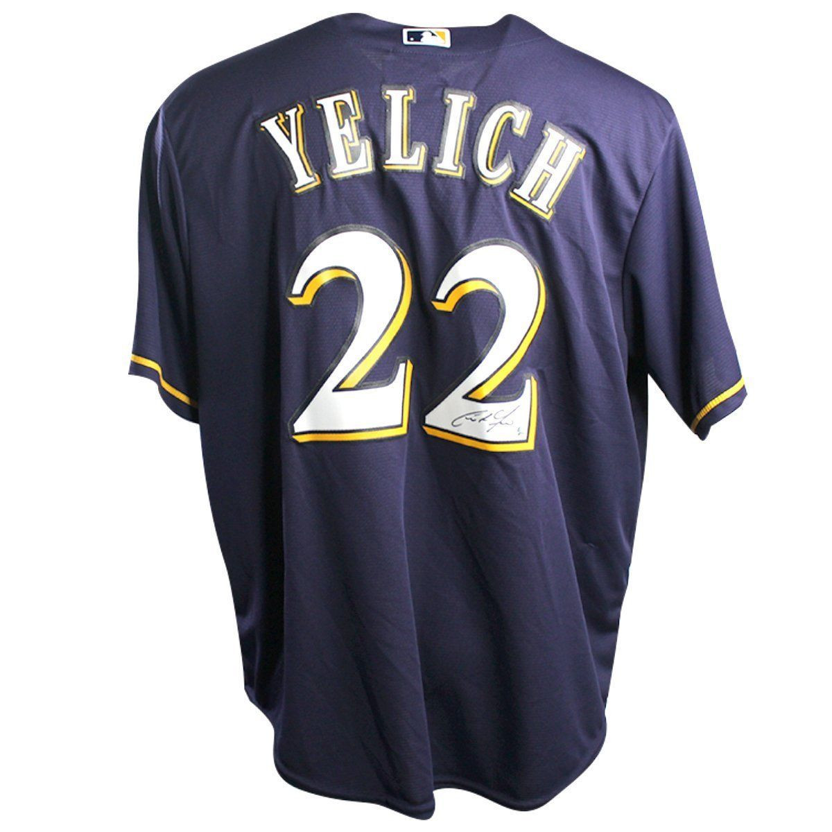 buy online 091bc c3d74 CHRISTIAN YELICH Autographed Milwaukee Brewers Cool Base Replica Majestic  Navy Blue Jersey STEINER