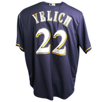 CHRISTIAN YELICH Autographed Milwaukee Brewers Cool Base Replica Majestic Navy Blue Jersey STEINER
