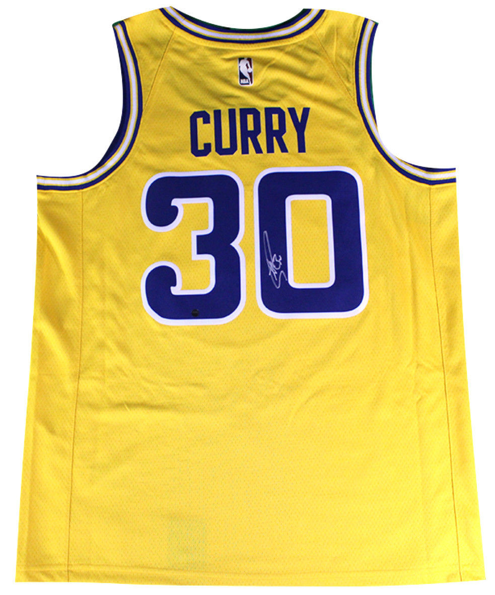 a4717381b832 STEPHEN CURRY Autographed Golden State Warriors Nike Gold Fashion Current  Player Hardwood Classics Swingman Jersey STEINER. Price   895.00. Image 1
