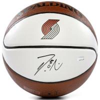 DAMIAN LILLARD Autographed Portland Trailblazers Spalding White Panel Basketball PANINI