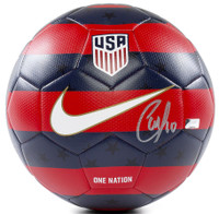CHRISTIAN PULISIC Autographed USA 2018 Prestige Nike Red and Blue Soccer Ball PANINI