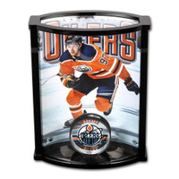 CONNOR McDAVID Autographed Edmonton Oilers Acrylic Puck in Curve Display with Photo UDA