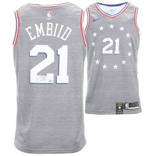 best website f3db2 ba597 JOEL EMBIID Philadelphia 76ers Autographed Nike City Edition Swingman  Jersey FANATICS
