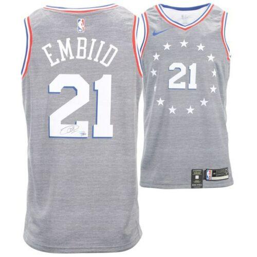 best website 24b42 3efa2 JOEL EMBIID Philadelphia 76ers Autographed Nike City Edition Swingman  Jersey FANATICS