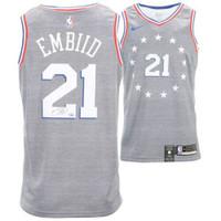 JOEL EMBIID Philadelphia 76ers Autographed Nike City Edition Swingman Jersey FANATICS