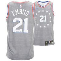 "JOEL EMBIID Philadelphia 76ers Autographed ""The Process"" Nike City Edition Swingman Jersey FANATICS"