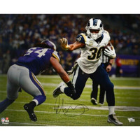 "TODD GURLEY Autographed Los Angeles Rams 16"" x 20"" 'Stiff Arm' Photograph FANATICS"