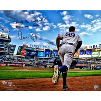 "AARON JUDGE Autographed / Inscribed ""Thank The Lord For Making Me A Yankee"" 16"" x 20"" ""Running Out of Dugout"" Photograph FANATICS"