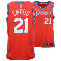 "Joel Embiid Philadelphia 76ers Autographed ""The Process"" Nike Red Statement Edition Swingman Jersey FANATICS"