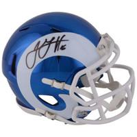 JARED GOFF Autographed Los Angeles Rams Speed Chrome Mini Helmet FANATICS