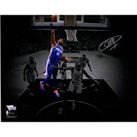 "JOEL EMBIID Philadelphia 76ers Autographed ""Dunking"" (in Blue Jersey) 11"" x 14"" Spotlight Photograph FANATICS"