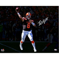 "BAKER MAYFIELD Autographed Cleveland Browns 'Throwing' 16"" x 20"" Photograph FANATICS"