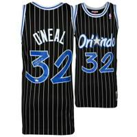 SHAQUILLE O'NEAL Autographed Mitchell & Ness Orlando Magic Black Pinstripe Jersey FANATICS