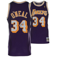 SHAQUILLE O'NEAL Autographed Mitchell & Ness Los Angeles Lakers Purple Replica Jersey FANATICS