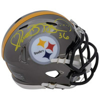 JEROME BETTIS Autographed Pittsburgh Steelers Chrome Mini Speed Helmet FANATICS