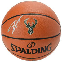 GIANNIS ANTETOKOUNMPO Autographed Milwaukee Bucks Logo Game Ball Series Spalding Basketball FANATICS