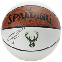 GIANNIS ANTETOKOUNMPO Autographed Milwaukee Bucks Logo White Panel Spalding Basketball FANATICS