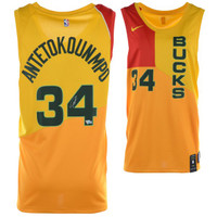GIANNIS ANTETOKOUNMPO Autographed Nike City Edition Yellow Swingman Jersey FANATICS
