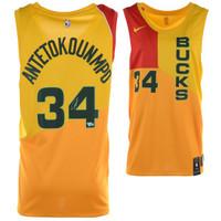 GIANNIS ANTETOKOUNMPO Autographed Nike City Edition Yellow Swingman Jersey FANATICS