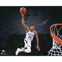 "GIANNIS ANTETOKOUNMPO Autographed Milwaukee Bucks 'Dunking' Spotlight 16"" x 20"" Photograph FANATICS"