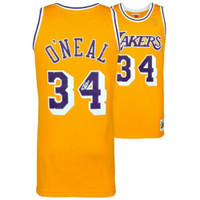 SHAQUILLE O'NEAL Autographed Mitchell & Ness Los Angeles Lakers Yellow Replica Jersey FANATICS