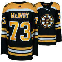 CHARLIE McAVOY Autographed Boston Bruins Multiple Stat Authentic Adidas Black Jersey Limited Edition of 12 FANATICS