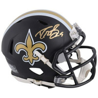 DREW BREES Autographed New Orleans Saints Black Matte Mini Helmet FANATICS