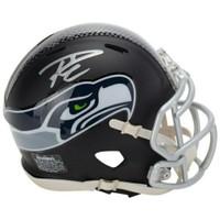 RUSSELL WILSON Autographed Seattle Seahawks Black Matte Mini Helmet FANATICS