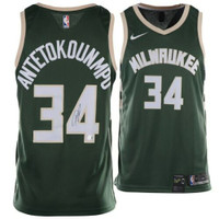 GIANNIS ANTETOKOUNMPO Milwaukee Bucks Autographed Nike Green Swingman Jersey FANATICS