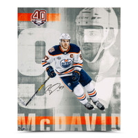 "CONNOR McDAVID Autographed Edmonton Oilers ""Anniversary"" 20 x 24 Photograph UDA"
