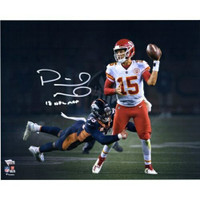 "PATRICK MAHOMES Autographed / Inscribed ""18 NFL MVP"" Kansas City Chiefs 'Lefty Throw' 16"" x 20"" Photograph FANATICS"
