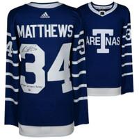 "AUSTON MATTHEWS Autographed ""100 Years of Leafs Hockey"" Toronto Maple Leafs Authentic Blue Adidas Jersey FANATICS"