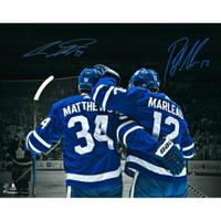 "AUSTON MATTHEWS & PATRICK MARLEAU Dual Autographed Toronto Maple Leafs 16"" x 20"" Spotlight Photograph FANATICS"