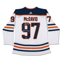 "CONNOR McDAVID Edmonton Oilers Autographed & Inscribed ""2017-18 Art Ross"" Edmonton Oilers White Adidas Authentic Jersey UDA LE 97"