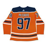 "CONNOR McDAVID Edmonton Oilers Autographed / Inscribed ""41 G, 67 A, 108 Pts"" Edmonton Oilers Orange Authentic Jersey UDA LE 97"