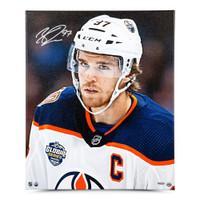 "CONNOR McDAVID Autographed Edmonton Oilers ""Looking On"" 20 x 24 Canvas UDA"