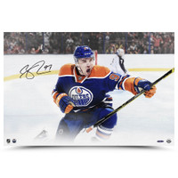 "CONNOR McDAVID Edmonton Oilers Autographed ""Warrior"" 16 x 24 Canvas UDA"