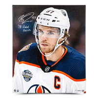 "CONNOR McDAVID Edmonton Oilers Autographed ""18 Global Series"" 20 x 24 Canvas UDA LE 97"