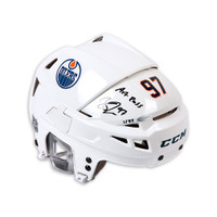 "CONNOR McDAVID Autographed ""Art Ross"" Authentic CCM Edmonton Oilers White Helmet UDA LE 97"