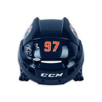 "CONNOR McDAVID Autographed ""MVP"" CCM Authentic Edmonton Oilers Navy Helmet UDA LE 97"